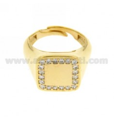 PINKY RING IN SILVER PLATED SQUARE AND ZIRCONIA WHITE GOLD 925 ‰