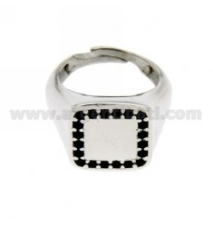 SQUARE PINKY RING IN SILVER RHODIUM 925 ‰ BLACKS AND ZIRCONIA