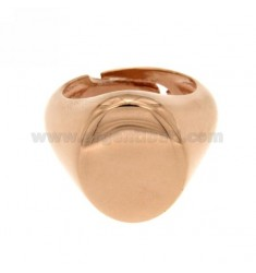LITTLE FINGER RING ADJUSTABLE VERTICAL OVAL SILVER PLATED ROSE GOLD 925 ‰