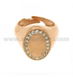 PINKY RING OVAL VERTICAL ADJUSTABLE GOLD PLATED AND ZIRCONIA WHITE ROSE 925 ‰