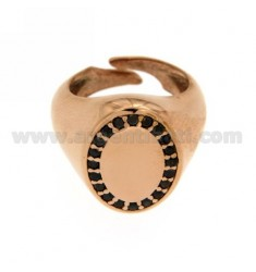 PINKY RING ADJUSTABLE VERTICAL OVAL SILVER PLATED ROSE GOLD 925 ‰ BLACKS AND ZIRCONIA