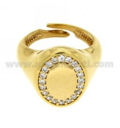 PINKY RING ADJUSTABLE VERTICAL OVAL SILVER PLATED AND ZIRCONIA WHITE GOLD 925 ‰