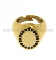PINKY RING OVAL VERTICAL ADJUSTABLE GOLD PLATED 925 ‰ BLACKS AND ZIRCONIA