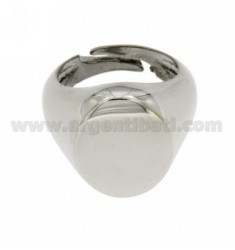 LITTLE FINGER RING ADJUSTABLE VERTICAL OVAL SILVER RHODIUM 925?
