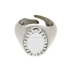 PINKY RING OVAL VERTICAL ADJUSTABLE SILVER RHODIUM 925 ‰ AND ZIRCONIA WHITE