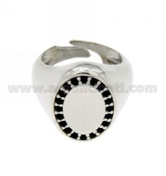 PINKY RING OVAL VERTICAL ADJUSTABLE SILVER RHODIUM 925 ‰ BLACKS AND ZIRCONIA