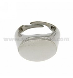 LITTLE FINGER RING ADJUSTABLE HORIZONTAL OVAL SILVER RHODIUM 925?