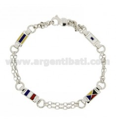 FLAGS IN RHODIUM BRACELET AG TIT 925 AND ENAMEL