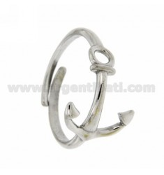 ADJUSTABLE RING WITH STYLIZED STILL IN RHODIUM SILVER 925