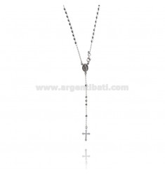 ROSARY NECKLACE WITH BALL FACED WITH 3 MM 50 CM IN RHODIUM SILVER 925 ‰