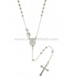 ROSARY NECKLACE WITH BALL 45 CM 3 MM SMOOTH SILVER TITLE 925