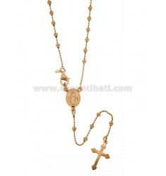 BALL CHAIN ROSARY NECKLACE WITH SMOOTH BALL OF MM 2.5 CM 50 IN SILVER TIT 925 ‰ ROSE GOLD PLATED