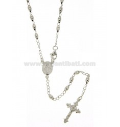 ROSARY NECKLACE WITH OLIVE SMOOTH MM 54 CM 3X5 SILVER TITLE 925 ‰ 54 CM
