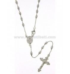 ROSARY NECKLACE CHAIN BALLS AND SMOOTH OLIVE MM 3X5 CM 54 IN SILVER TIT 925 ‰