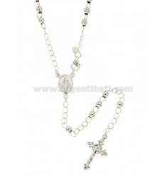 ROSARY BEAD NECKLACE WITH SMOOTH TO 4 CM 45 MM SILVER TITLE 925