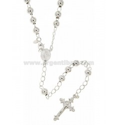 ROSARY BEAD NECKLACE WITH SMOOTH TO 6 MM 60 CM SILVER TITLE 925