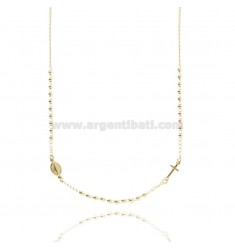 ROSARY NECKLACE WITH A ROUND SMOOTH BALL 45 CM 3 MM 925 ‰ TIT SILVER GOLD PLATED YELLOW