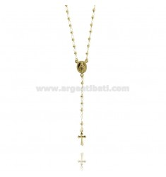 ROSARY NECKLACE WITH SMOOTH BALL 60 CM 3 MM 925 TIT SILVER GOLD PLATED YELLOW