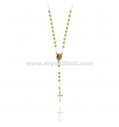 ROSARY BEAD NECKLACE WITH SMOOTH TO 5 MM 70 CM SILVER GOLD PLATED TIT 925