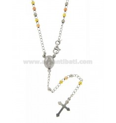 ROSARY NECKLACE WITH SMOOTH BALL 60 CM 3 MM 925 TIT SILVER RHODIUM PLATED, YELLOW GOLD AND PINK