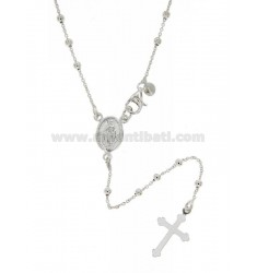 ROSARY NECKLACE WITH BALL FLAT CABLE 2.5 MM 60 CM SILVER TITLE 925