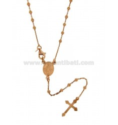ROSARY NECKLACE WITH BALL FLAT CABLE 2.5 MM 60 CM SILVER ROSE GOLD PLATED TIT 925