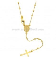 Collar del rosario CABLE CON LA BOLA 2.5 CM 45 MM suaves Plata TIT 925 ‰ chapado en oro amarillo