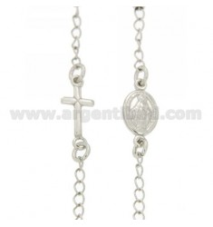 ROSARY NECKLACE WITH A ROUND BALL 50 CM 3 MM faceted SILVER RHODIUM 925