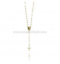ROSARY NECKLACE WITH BALL faceted MM 45 CM 3 TIT 925 SILVER GOLD PLATED YELLOW