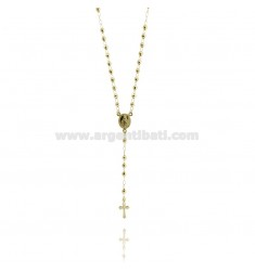 ROSARY NECKLACE WITH BALL faceted MM 4 CM 50 TIT SILVER 925 GOLD PLATED