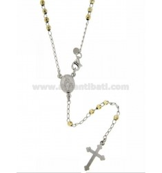 ROSARY NECKLACE WITH BALL facetted rhodium.plated 3 MM GOLD PLATED SILVER TIT GIALLOCM 60 925