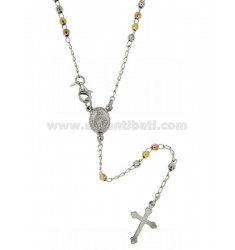 ROSARY NECKLACE WITH BALL faceted MM 3 RHODIUM PLATED, YELLOW AND ROSE GOLD SILVER 60 CM TIT 925