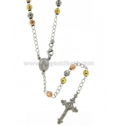 ROSARY NECKLACE WITH BALL faceted MM 5 RHODIUM PLATED, YELLOW AND ROSE GOLD SILVER 60 CM TIT 925