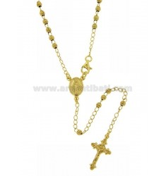 ROSARY NECKLACE WITH STRIPED BALL 45 CM 3 MM 925 ‰ RHODIUM SILVER GOLD PLATED