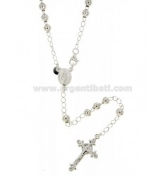 ROSARY BEAD NECKLACE WITH SMOOTH TO 5 MM 50 CM SILVER TITLE 925