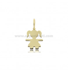 A GIRL PENDANT SLAB MIS 1,70 X1, 30 SILVER GOLD PLATED 925