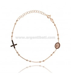 ROSARY BRACELET WITH CROSS MADONNA AND TRAMELETS WITH BLACK ZIRCONIA SILVER COPPER TIT 925 CM 18-23