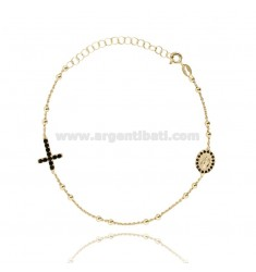ROSARY BRACELET WITH CROSS MADONNA AND TRAMELETS WITH BLACK ZIRCONIA SILVER GOLDEN TIT 925 CM 18-23
