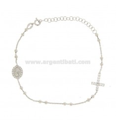 ROSARY BRACELET WITH CROSS MADONNA AND TRAMELETS WITH WHITE ZIRCONIA IN SILVER RHODIUM TIT 925 CM 18-23