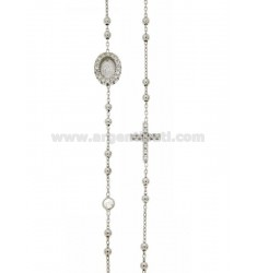 ROUND ROSARY NECKLACE WITH CROSS, MADONNA AND PARTITIONS WITH WHITE ZIRCONS IN RHODIUM-PLATED SILVER TIT 925 CM 43-48