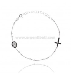 ROSARY BRACELET WITH CROSS MADONNA AND TRAMELETS WITH BLACK ZIRCONS IN SILVER RHODIUM TIT 925 CM 18-23