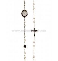 COLLIER RHODIUM SILVER CROSS WITH TIT 925, MADONNA AND PARTITIONS IN ZIRCONIA BLACKS