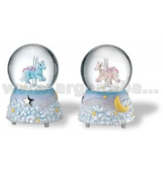 BLUE HORSE SNOW BALL 12 CM WITH CHIME H.ARG.