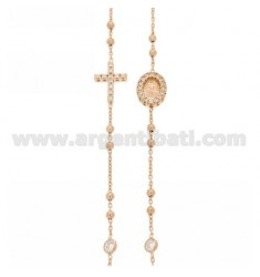 COLLIER ROSE GOLD PLATED SILVER CROSS WITH TIT 925, MADONNA AND PARTITIONS IN ZIRCONIA WHITE