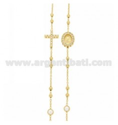 ROUND ROSARY NECKLACE WITH CROSS, MADONNA AND PARTITIONS WITH WHITE ZIRCONS IN SILVER GOLDEN TIT 925 CM 43-48
