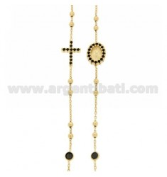COLLIER SILVER GOLD PLATED CROSS WITH TIT 925, MADONNA AND PARTITIONS IN ZIRCONIA BLACKS