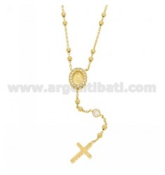 COLLIER CORONA YELLOW GOLD PLATED SILVER CROSS WITH TIT 925 ‰, MADONNA AND PARTITIONS IN ZIRCONIA WHITE