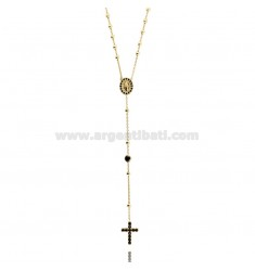 COLLIER CORONA YELLOW GOLD PLATED SILVER CROSS WITH TIT 925 ‰, MADONNA AND PARTITIONS IN ZIRCONIA BLACKS