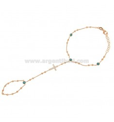 BACIAMANO ROSE GOLD PLATED IN AG TIT 925 ‰ WITH CROSS AND APPLICATIONS IN WHITE AND TURQUOISE ZIRCONIA