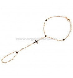 BACIAMANO ROSE GOLD PLATED IN AG TIT 925 ‰ WITH CROSS AND APPLICATIONS IN BLACK ZIRCONIA